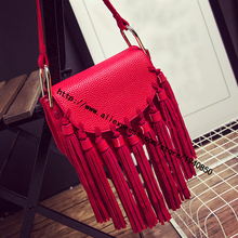 Small bag 2016 new autumn and winter fashion handbags big mobile diagonal fringed leather small shoulder bag Post