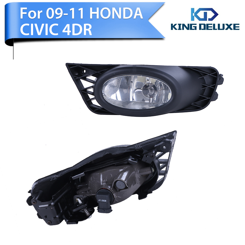 2016 1set Driving Fog Light Clear Bumper For Honda Civic 4D 2009 2010 2011 with Box Car Accessories WISENGEAR P86-E(China (Mainland))