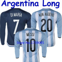 Soccer Jersey Argentina Long Sleeve Jersey 2015 Argentina Long Sleeve 15 16 MESSI DI MARIA KUN AGUERO 15/16 White Blue Shirt LS(China (Mainland))