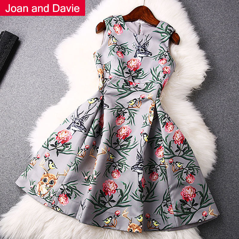 2015 Summer women's clothing new fashion sleeveless elegant slim print flower milu deer knee-length ball gown dresses - Joan and Davie store