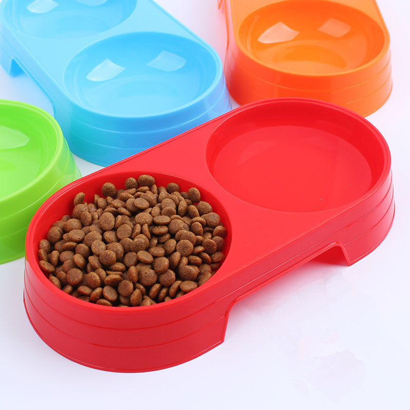 4 colors Pet Feeder Double Dog Cat Bowl Colored Plastic Pet Circle Bowl High Quality Puppy Utensils Drinking/Food Dog Supplies(China (Mainland))