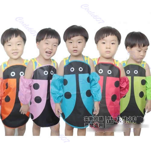 E74 Free Shipping 5pcs/lot Cute Ladybug Kids Kitchen Garden Fabric Craft Apron Lovely Child Pinafore New(China (Mainland))