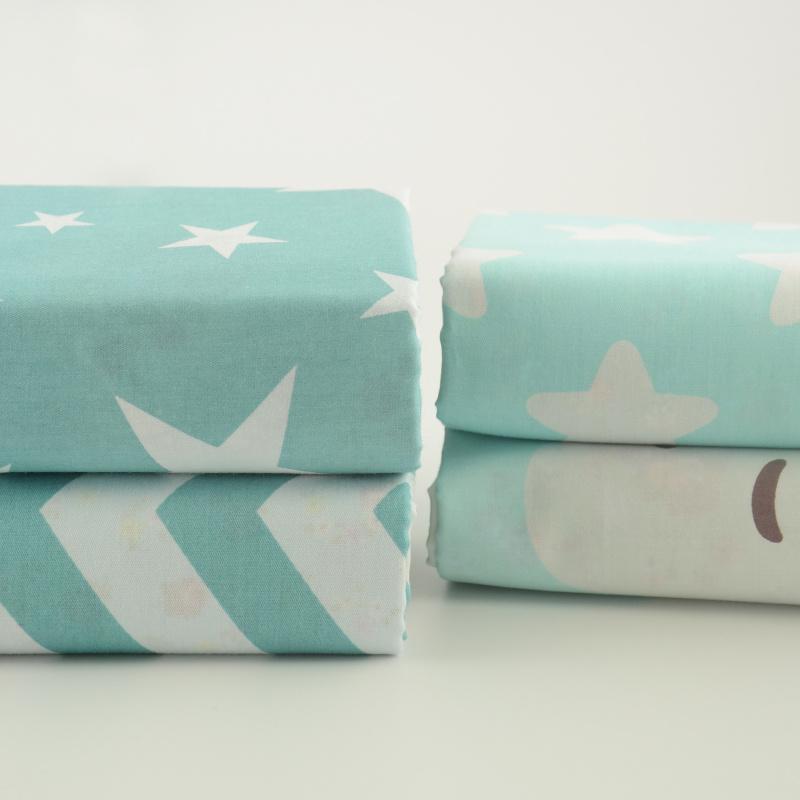 4PSC Cotton Twill Fabric Blue White Star White Cloud Wave Teramila Crafts Telas Home Textiles Tecido Quilting bedding(China (Mainland))