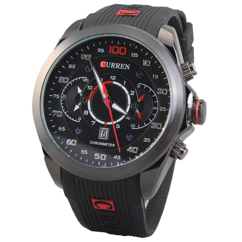 Гаджет  2015 CURREN Casual Men Watches Top Brand Luxury Wristwatches Men Military Rubber Strap Sports Watch Auto Date Relogio Masculino None Часы