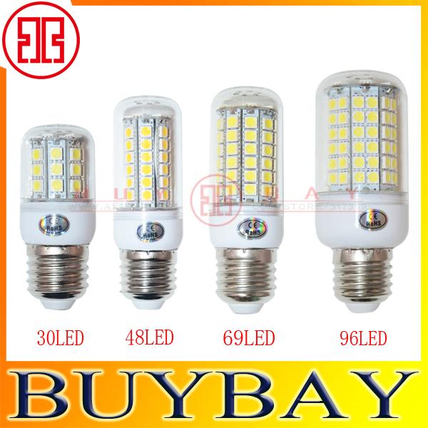 Chandelier SMD 5050 9W 12W 15W 25W E27 led bulb lamp 220V Warm White/ white,30LED 48LED 69LED 96LED 5050 Led candle corn light(China (Mainland))