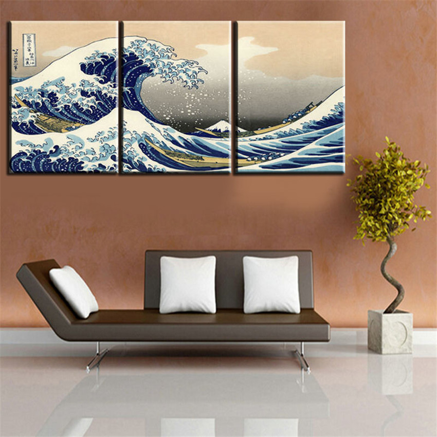 art scenery picture great wave off multi panel canvas wall art china