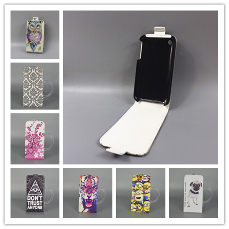 For Apple iPhone 3G 3GS Hot Pattern Cute PrintingVertical Flip Cover Open Down/up Back Cover filp leather case(China (Mainland))