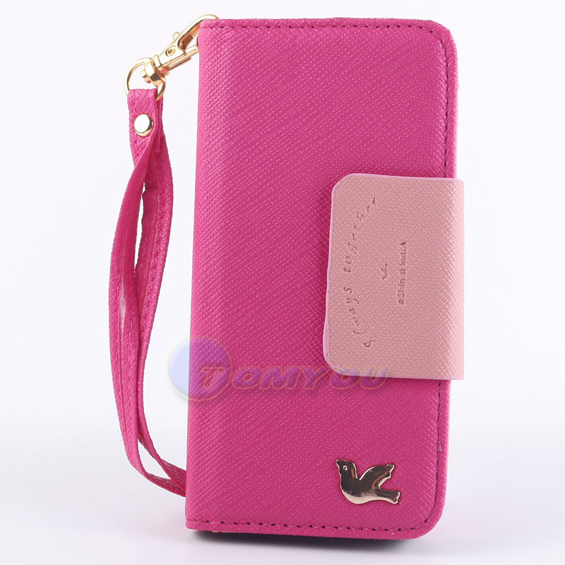 Fashion Pigeon PU Leather Design Original Clip Wallet With Card Holder Cover Case For iPhone 5 5G 5S SE Cell Phone + Lanyard(China (Mainland))
