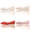 white red pink and coloful crystal flat bridal wedding shoes fashion women s party shoes