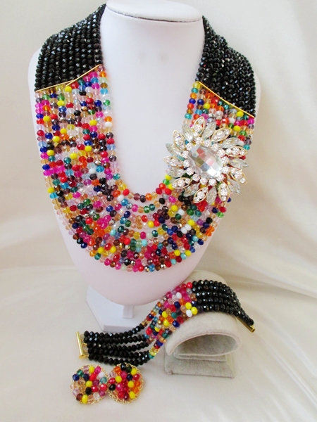 Trendy NEW African Beads Jewelry Set Crystal Beads Necklace Set Nigerian Wedding African Jewelry Set Free shipping WI-616(China (Mainland))