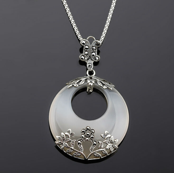 Thai Silver Natural Agate Real Pure Pendant 925 Sterling Silver Chalcedony Necklace White Gold Plated NLA731 OUXI Jewelry(China (Mainland))