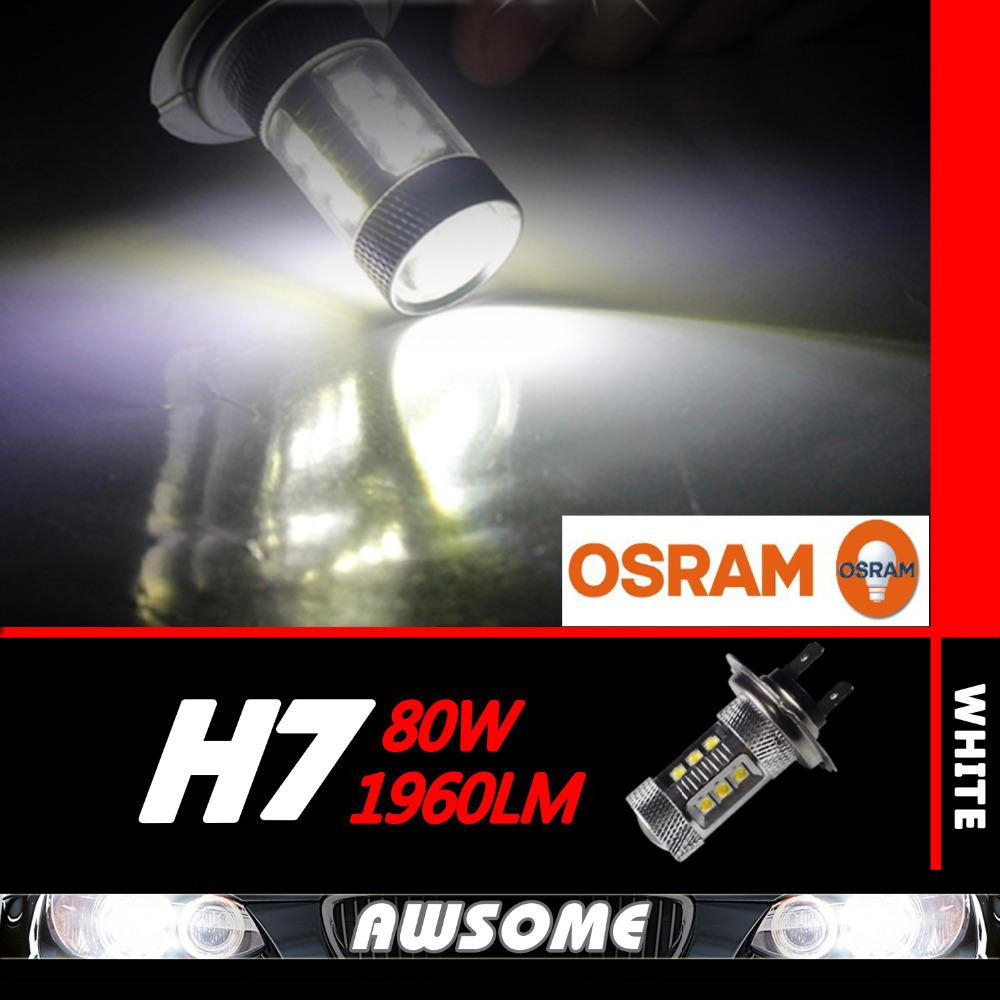 1x 80W H7 High Power Xenon White OSRAM Led Car Truck DRL Driving Daytime Running Fog Light Source 12-24V DC 1900LM(China (Mainland))