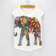New fashion Flower Elephant printed t shirts women summer dresses 2016 novelty design casual top tees for girls(China (Mainland))