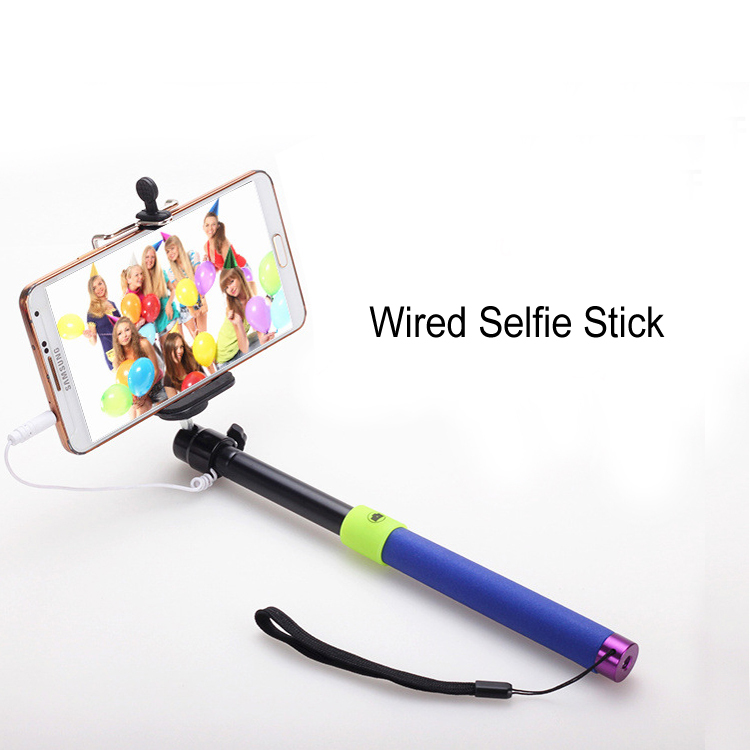 selfie stick monopod extendable handheld wired audio cable camera stand pole clip holder for. Black Bedroom Furniture Sets. Home Design Ideas