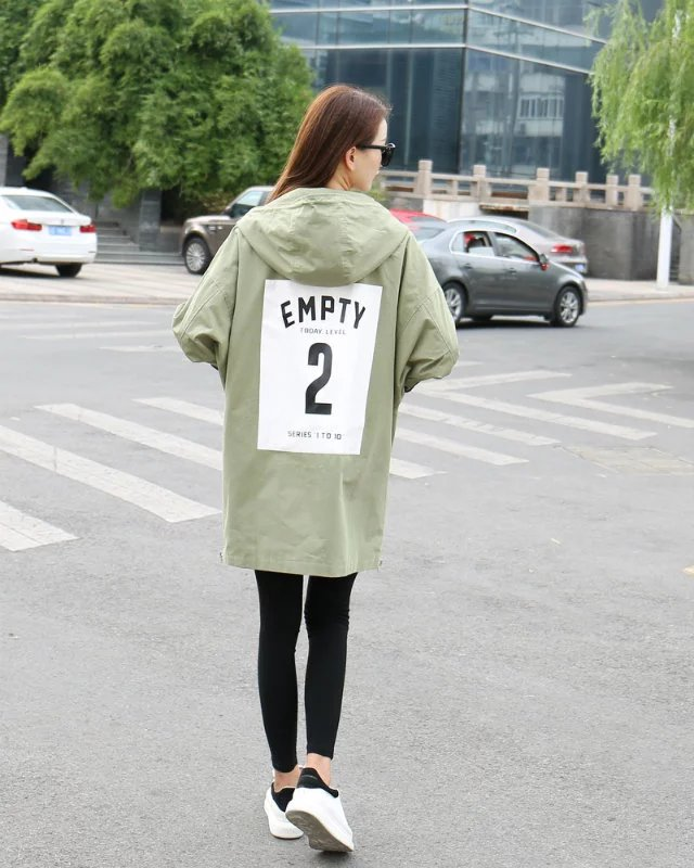 Fall 2016 Couture Korean back patch Monogrammed hooded windbreaker jacket female loose version