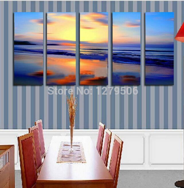 Handmade Oil Painting On Canvas Wall Art Home Decor For Living Room As Unique Gift 5 Pieces/set Beautiful Twilight Decor(China (Mainland))