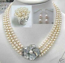 Graceful 3 Rows White Akoya Pearl 7-8mm Necklace Ring Earrings Jewelry Set wedding jewelry sets(China (Mainland))