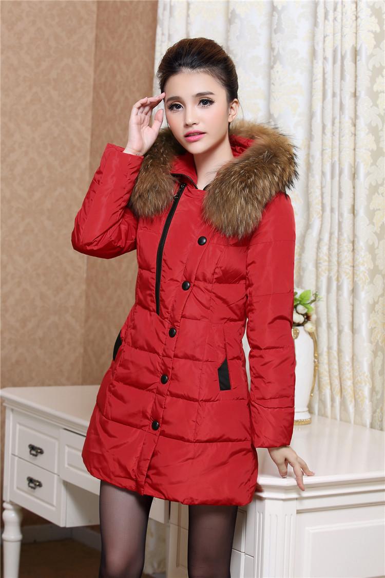 Скидки на Пуховик, зима длинная большие мех воротник пальто леди одежда китай женщины платье скидка