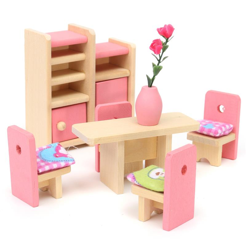 Wood Baby Doll Furniture #16: 2016 New Wooden Delicate Dollhouse Toy Miniature Kid Children Pretend Play 6 Room Set/4 Dolls Toys Baby Parent-child Interaction