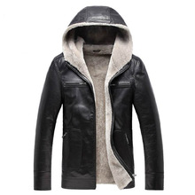 Men jacket leather sheepskin motorcycle coat with hat thick winter new fashion style high quality clothing Free shipping Sale(China (Mainland))