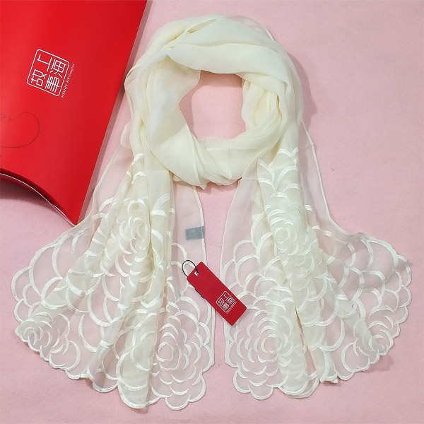 13 white silk scarf silk embroidery flower long design silk scarf female spring and autumn(China (Mainland))