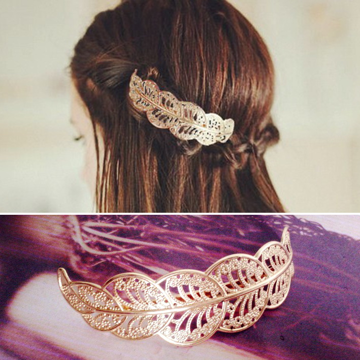 2015 New arrival fashion vintage gold metal lace leaf Hairpins hair clips for women grampos para cabelo bijoux wholesale(China (Mainland))