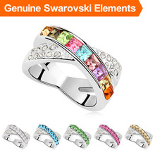 Made with SWAROVSKI ELEMENTS Genuine Austria Crystal 18K Gold Plated Ring for women New Sale Hot  6 colors #96679