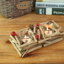 Creative gifts handmade wood crafts home furnishings decorative design candle holders(China (Mainland))