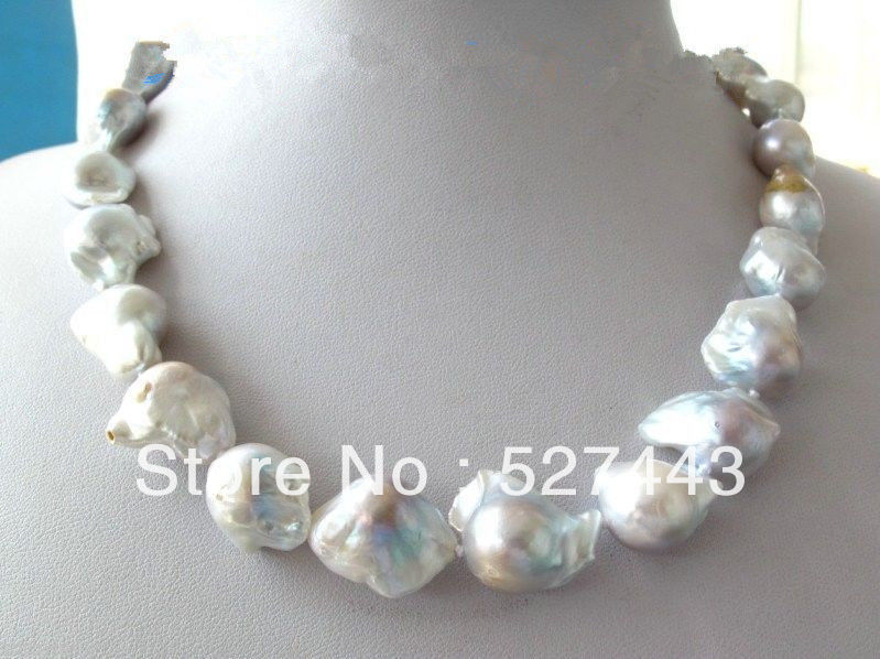 Wholesale free shipping &gt;&gt;Unusual White &amp; Gray Keshi Keishi Baroque Pearl Necklace<br><br>Aliexpress