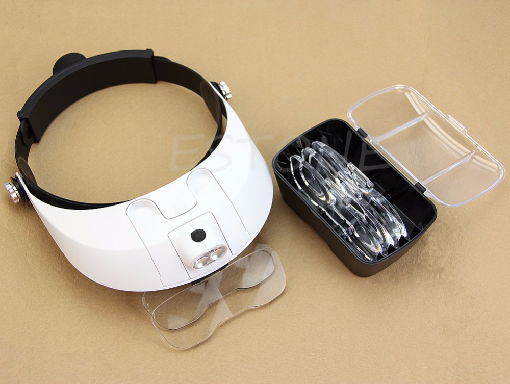 Headband LED Lamp Light Illuminating Magnifier Magnifying Glass Loupe Headlamp