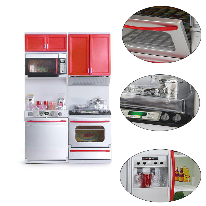 Mini Kids Kitchen Pretend Play Cooking Set Cabinet Stove Toy Gift Red plastic storage cabinets House Simulation Electric(China (Mainland))