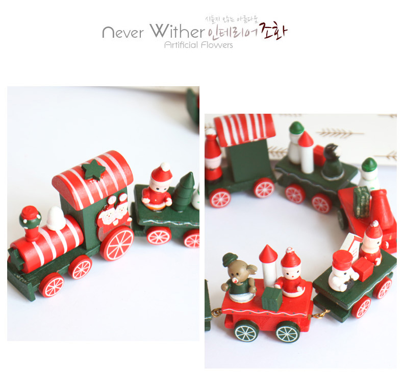 2016 Wooden Little Train Christmas Decorations For Home Train Decor Xmas Ornaments Merry Christmas Gifts navidad New Year(China (Mainland))