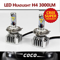2PC Plug Play H4 LED 60W Set 6000LM Set 6000K WHITE BULB light REPLACEMENT CONVERSION DRL