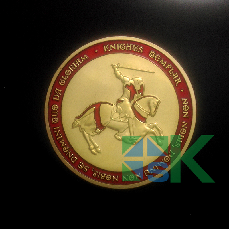 DHL Free Shipping Wholesale Cross Knight Templar Red Color 24K .999 FINE Silver Plated Clad Colorful Souvenir Coin 50pcs/lot(China (Mainland))