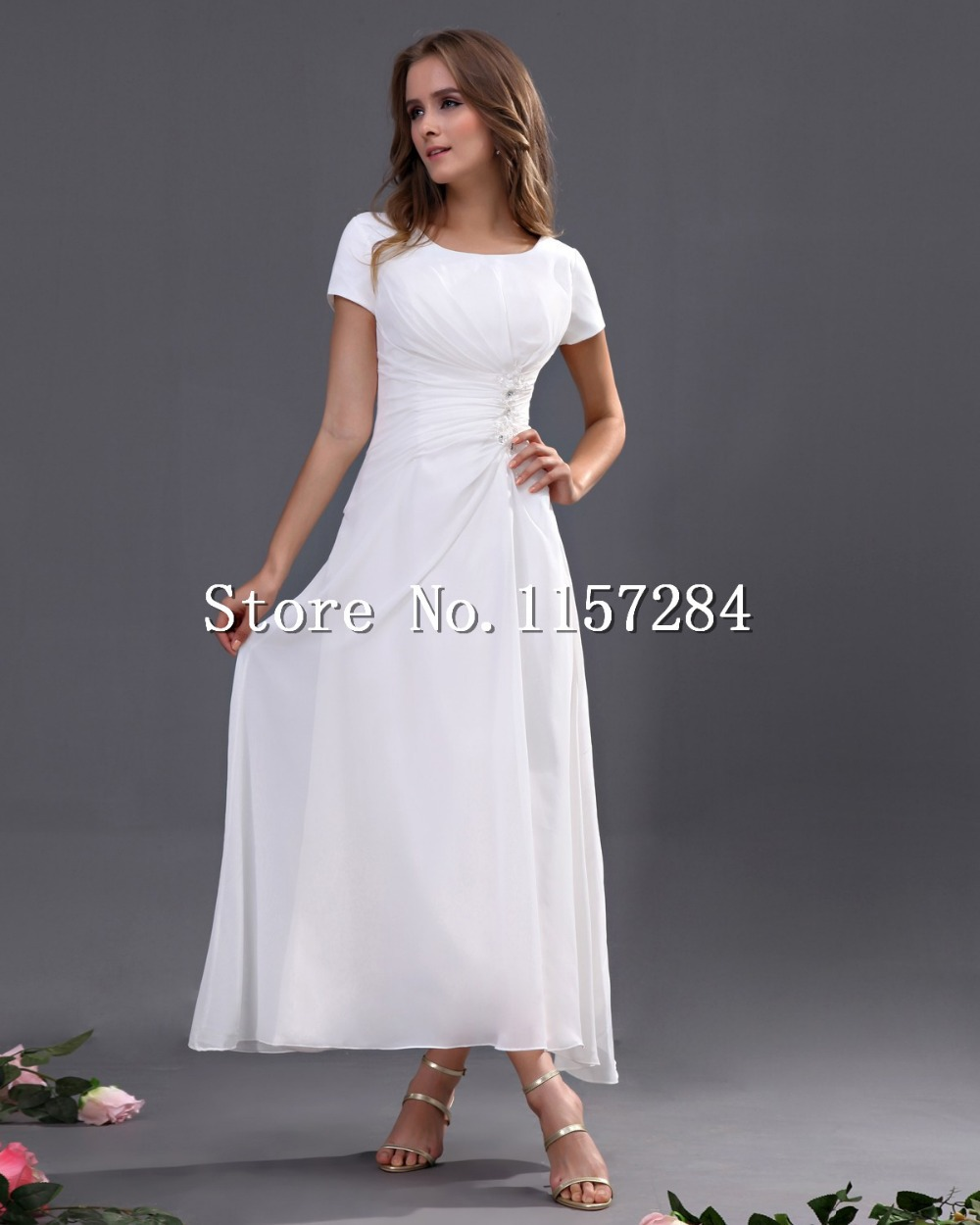 Free shipping 2014 custom made a line ankle length white for Ankle length wedding dress with sleeves