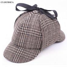 Шерстяная зимняя шапка для охоты в винтажном британском стиле, шапка шерлока Холмса