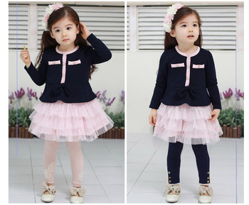 2013 Wholesale & Retail  Children's Lovely Elegant Princess Girls Clothing Baby Long-Sleeve Dress 2 Colors Pink &Blue Free Ship