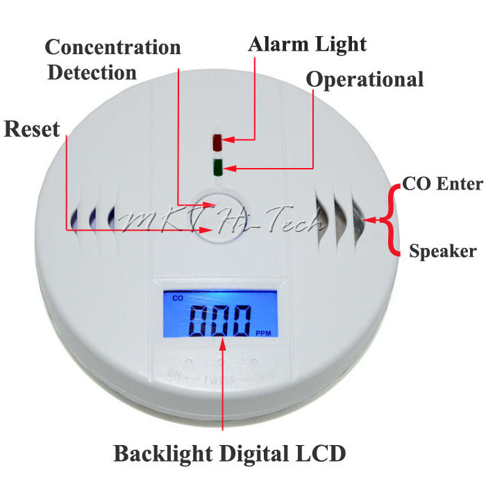 CE RoHS High Sensitive Digital LCD Backlight Carbon Monoxide Detector Tester CO Gas Sensor Alarm for Home Security Safety(China (Mainland))