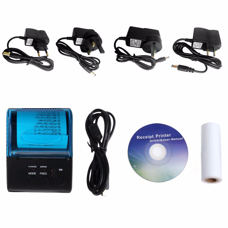 Rechargeable Wireless 58mm Bluetooth Thermal Printer for IOS Android Mobile PC