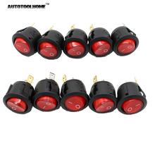 Nuevo 10 Unids ROJO 220 V MAX 250 V Del Coche Del Barco LED Dot Ronda luz Rocker ON/OFF SPST Toggle Switch 3 Pines Botón interruptor