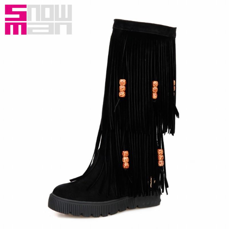 2015 Fashion Women Bead Tassel Boots Hidden Wedges Half Knee Boots Ethnic Spring Autumn Winter Boots Shoes Woman Platform Botas