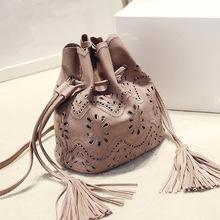 Discount Fashion Hollow PU leather Women Bucket Bag Shoulder Bag Women Handbags Satchel Clutch Tote Messenger Bag Free Shipping(China (Mainland))