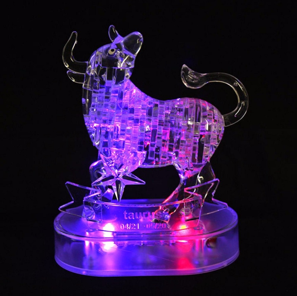 Taurus Crystal Puzzles 3D Jigsaw Model DIY Toy Xmas Gift By Complete store(China (Mainland))