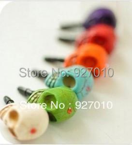 Min order is $10(mix order)mobile phone general mobile phone dustproof plug headphones skull earphone hack plug  jewelry