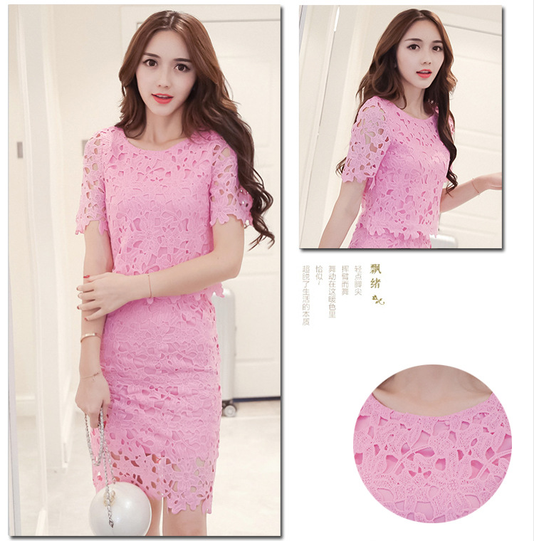 Women Lace Set  O Neck Crop Tops And Skirt Hollow Out Female Suit White Blue Pink 2 Pieces (27)
