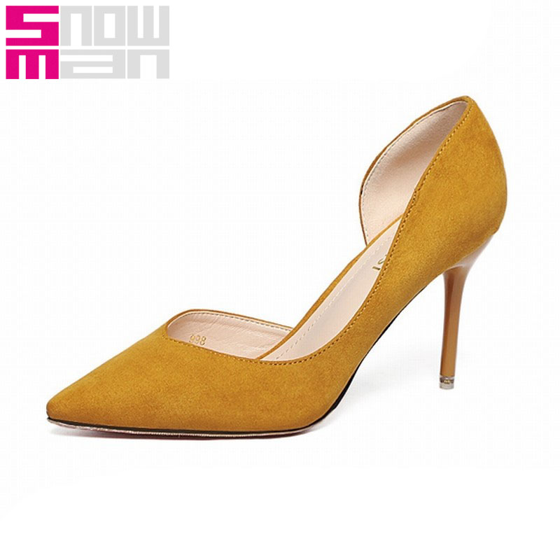 New D'Orsay Women Pumps Flock Solid Color Shoes Sexy Pointed Toe Shoes Thin High Heels Shoes Woman Half Red Bottom Summer Pumps