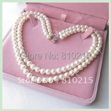Classic!2Rows Pearl Necklace 18''-19''Inchs AA 7-8MM White Color Genuine Freshwater Pearl Necklace Wholesale New Free Shipping(China (Mainland))