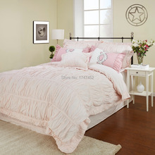 200Thread Count  Quilt Cover Set  Pink with pintuck design 1 duvet cover 2 pillow sham(China (Mainland))