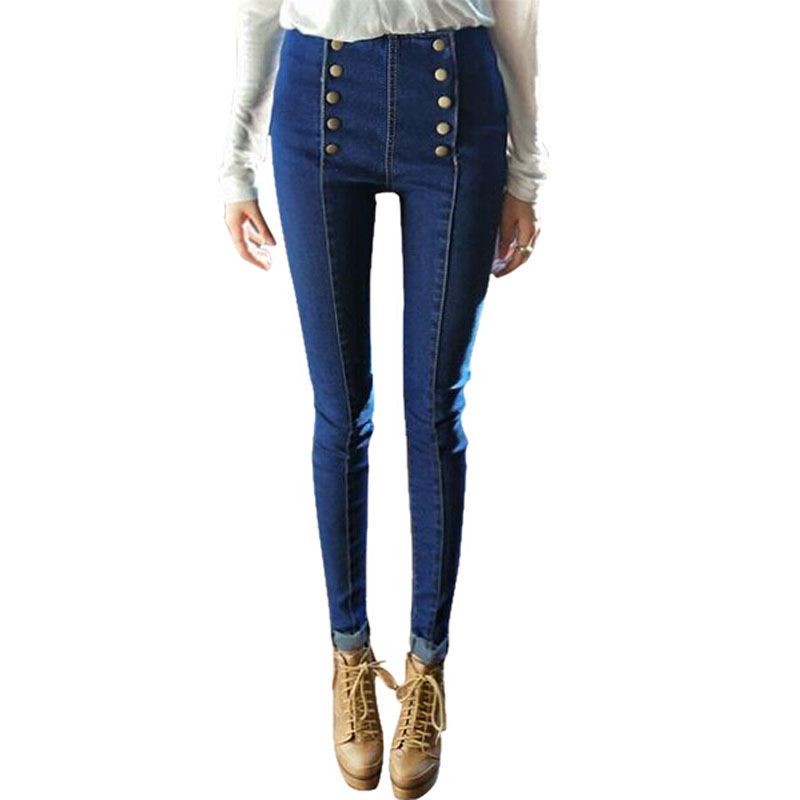 2015 Brand New Fashion Double Buttons High Waist Jeans Women Skinny Jeans All Matched Pencil
