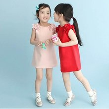 New Summer Sleeveless Princess Dress Party Clothes for girls clothes Lovely Fashion Cotton Blending Clothing VB284 P65